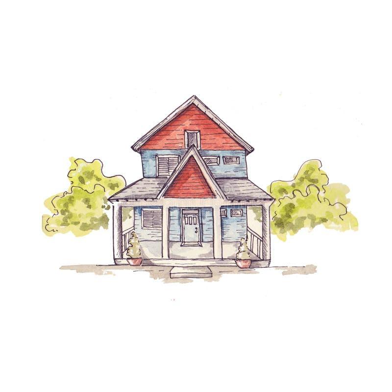 Dłoniowa akwarelowa ilustracja oh house fotografia stock