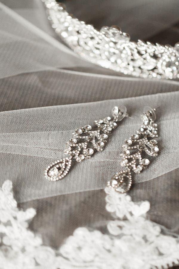 Dłudzy bridal kolczyki obraz stock