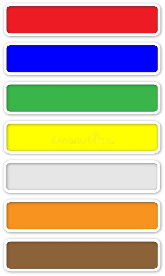 Dłudzy kolor sieci guziki z białym obręczem ilustracja wektor
