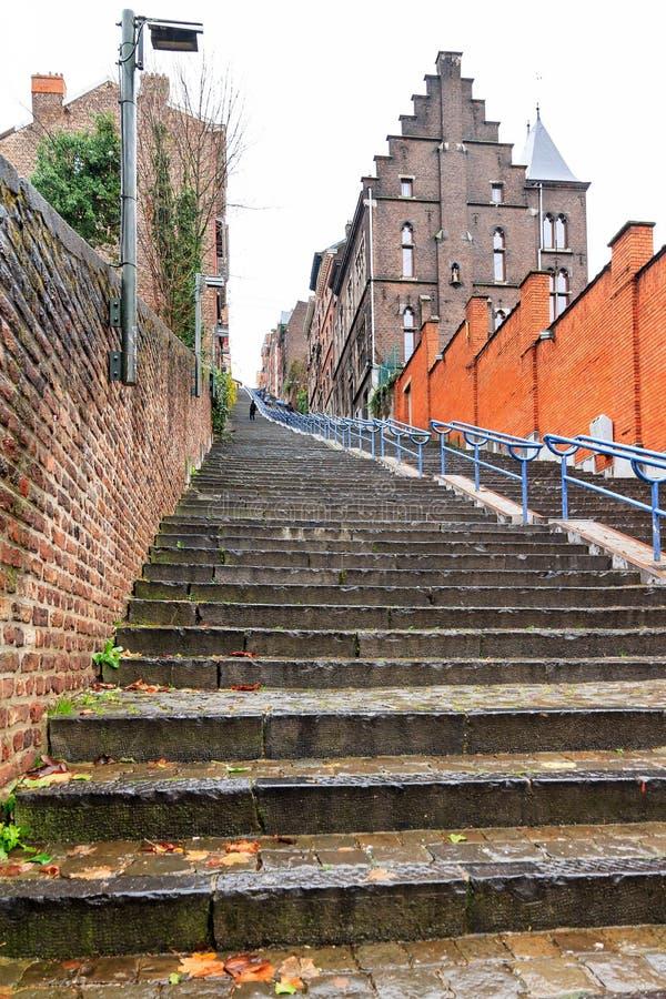 Dłudzy schodki w Liege obrazy stock