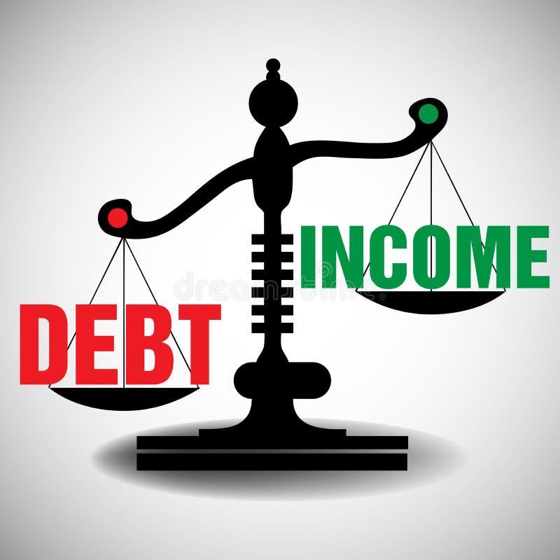 Dług i dochód skala ilustracja wektor