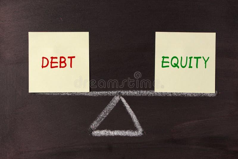 Dług i sprawiedliwości równowaga zdjęcie royalty free
