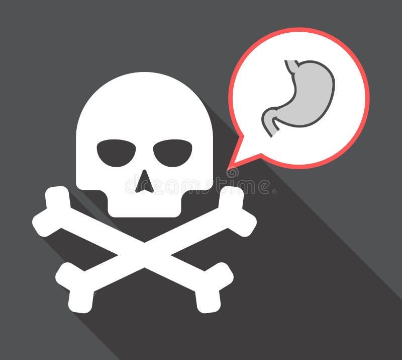 Długa cień czaszka z zdrową ludzką żołądek ikoną ilustracji