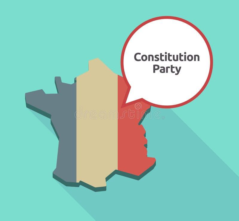Długa cienia Francja mapa z tekst konstytuci przyjęciem ilustracji