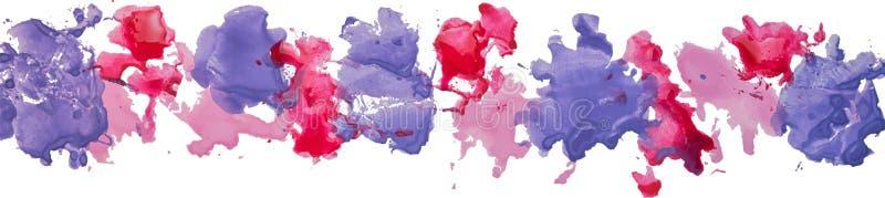 Długa granica guasz akwareli papierowego koloru ręki rysować plamy royalty ilustracja