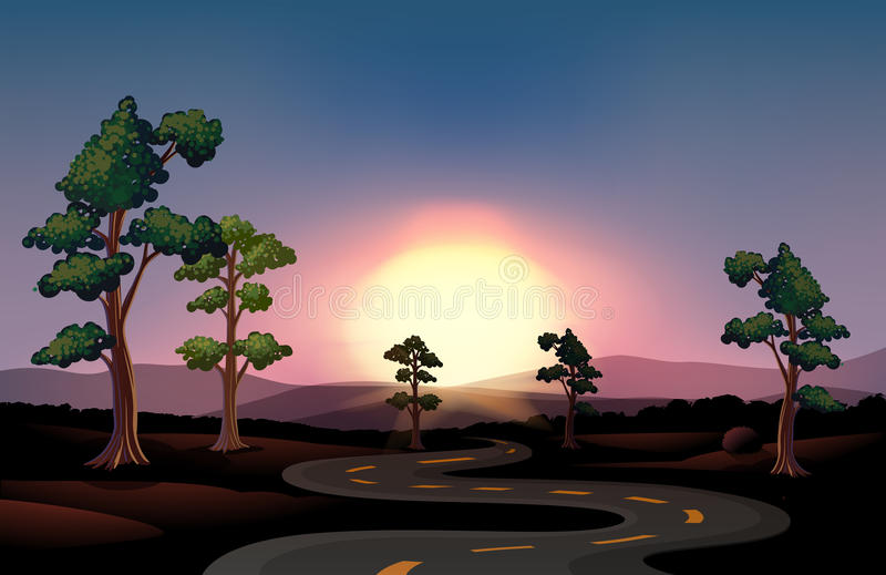 Długa i wijąca droga iść las ilustracja wektor