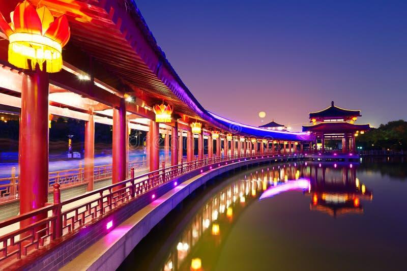 Długa korytarz scenerii noc Xian fotografia stock
