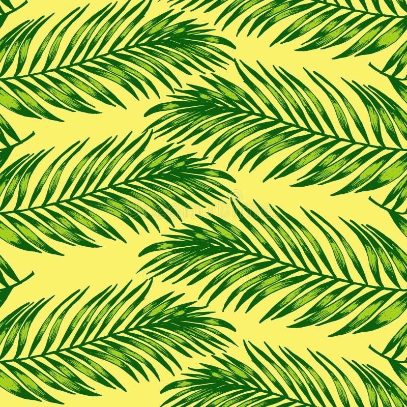 D?uga palma opuszcza pttern prostych, pastelowych kolory, royalty ilustracja