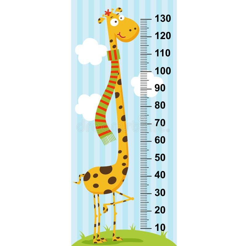 Długa szyi żyrafy wzrosta miara royalty ilustracja