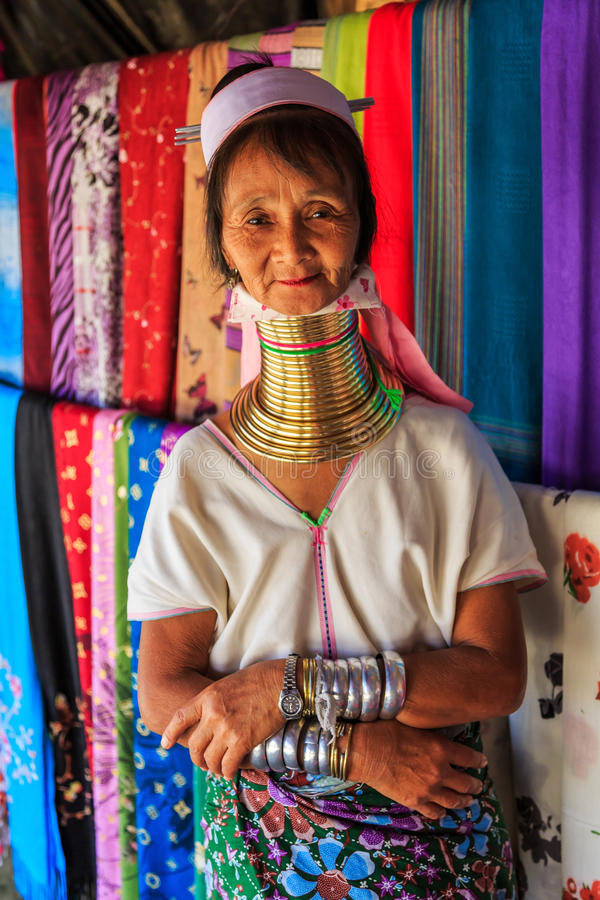 Długa szyi dama, Chiang Mai Tajlandia fotografia royalty free