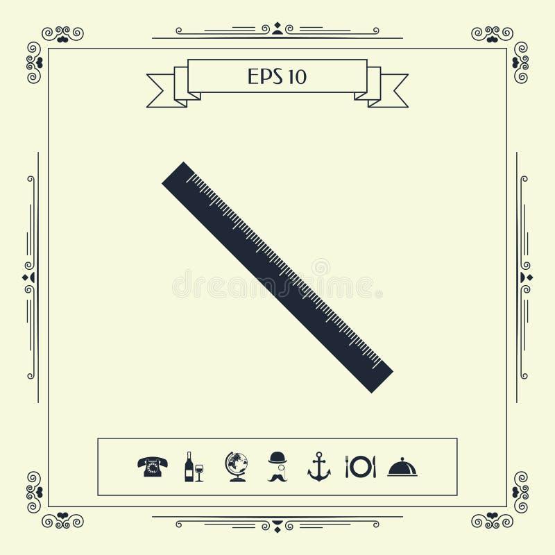 Długa władcy ikona ilustracja wektor