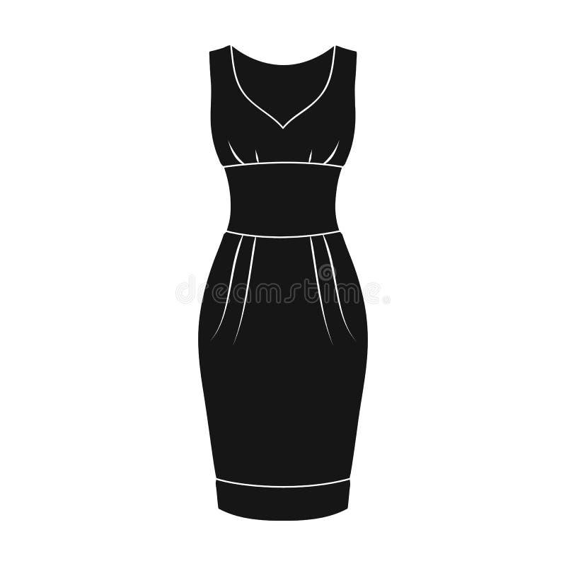 długa wieczór suknia dla podwyżki w teatrze Kobiet s sleeveless suknia Kobiety odziewa pojedynczą ikonę w czerń stylu ilustracja wektor