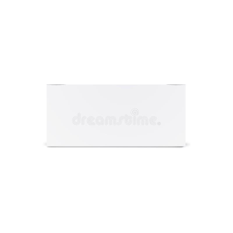 Długi biały kartonu mockup - frontowy widok Realistyczny karton, zbiornik, pakuje Egzamin próbny W górę szablonu Przygotowywające royalty ilustracja