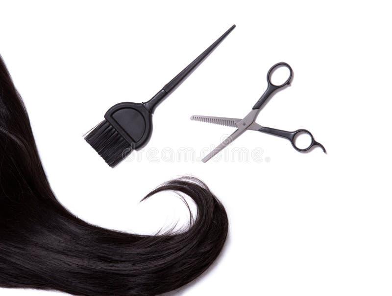 Długi czarny błyszczący włosy z fachowymi nożycami i włosianego barwidła br zdjęcia stock