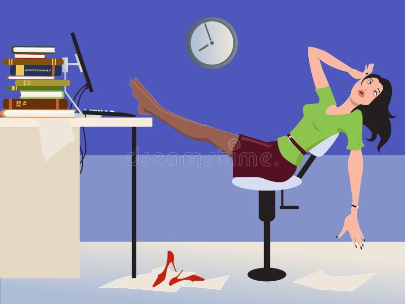 Długi dzień przy pracą royalty ilustracja