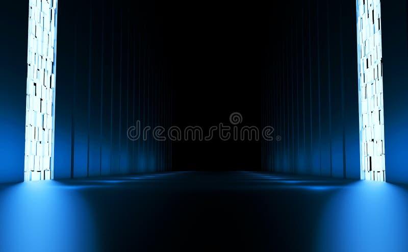 Długi fantastyczny pokój z błękitną łuną ilustracji