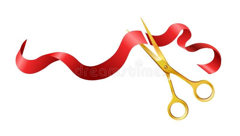 Długi jedwabniczy czerwony faborek i złociści błyszczący nożyce ilustracja wektor