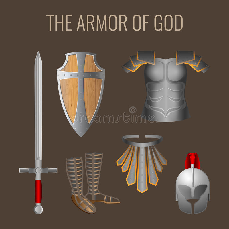 Długi kordzik duch, gotowości osłona, zbroi salwowania hełm royalty ilustracja
