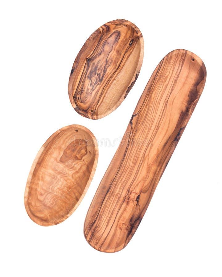 Długi oliwny drewno talerz, puchar i fotografia stock