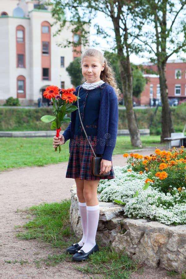 Długi portret Kaukaska uczennica w mundurze iść z powrotem szkoła, trzyma kwitnie w ręce zdjęcie stock