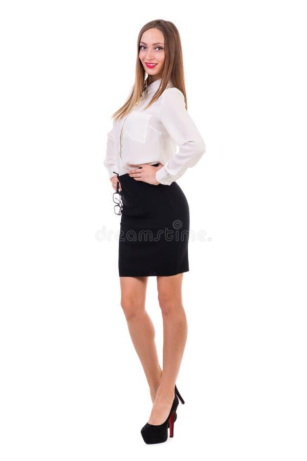 Długi portret młoda biznesowa kobieta obrazy stock