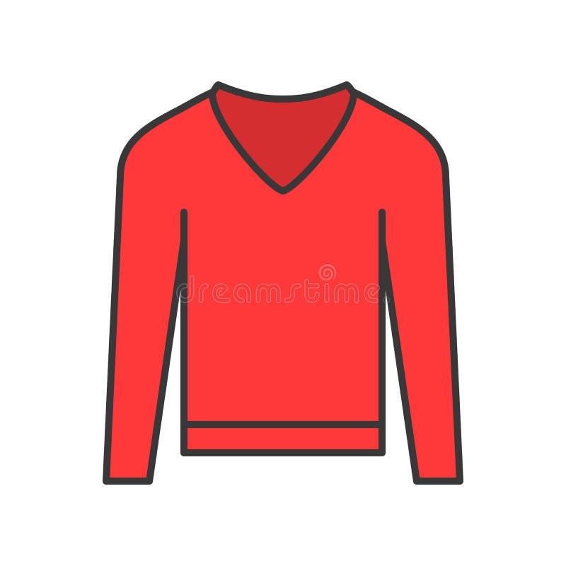 Długi rękawa pulower, wypełniający koloru konturu editable uderzenie ilustracji