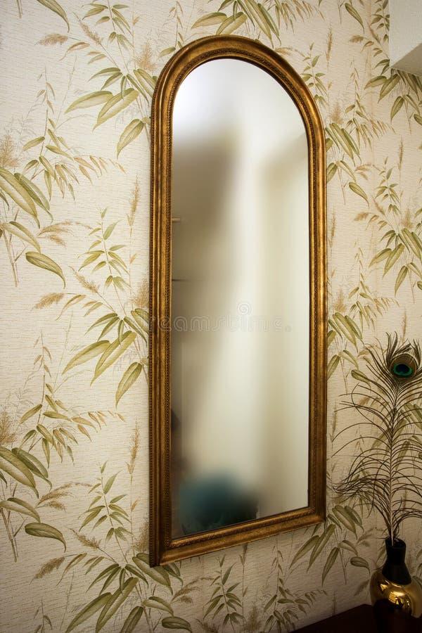 Długi rocznika lustro na ścianie z tapety i pawia piórkowym antykwarskim retro projektem zdjęcie royalty free