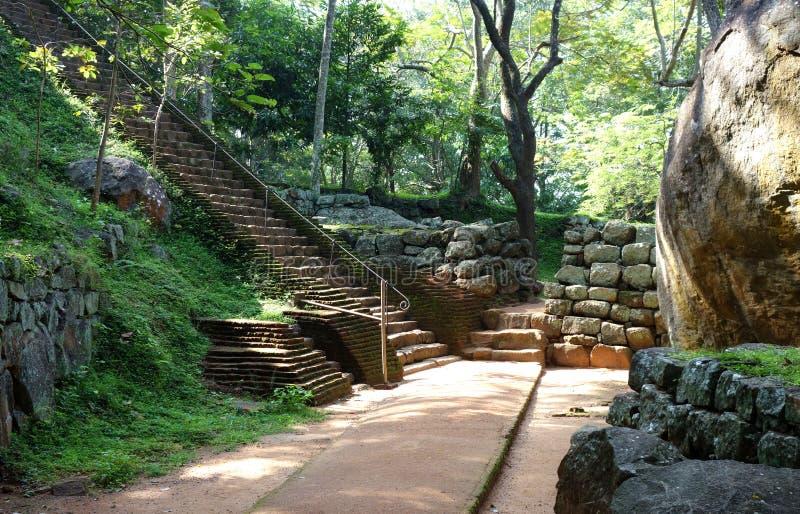 Długi schody w Sigiriya parku zdjęcie royalty free