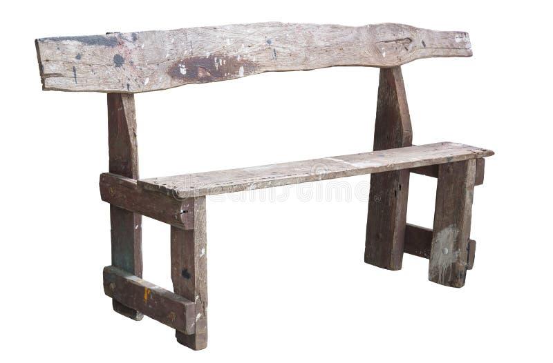 Długi stary drewniany krzesło odizolowywający na białym tle zdjęcia royalty free