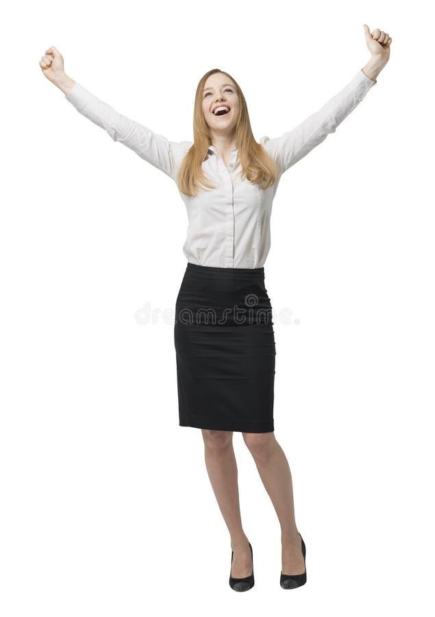 Długi szczęśliwa biznesowa dama ręce do góry obrazy stock
