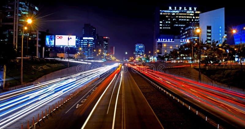 Długi ujawnienie w ekspresowym sposobie miasto Lima zdjęcie royalty free