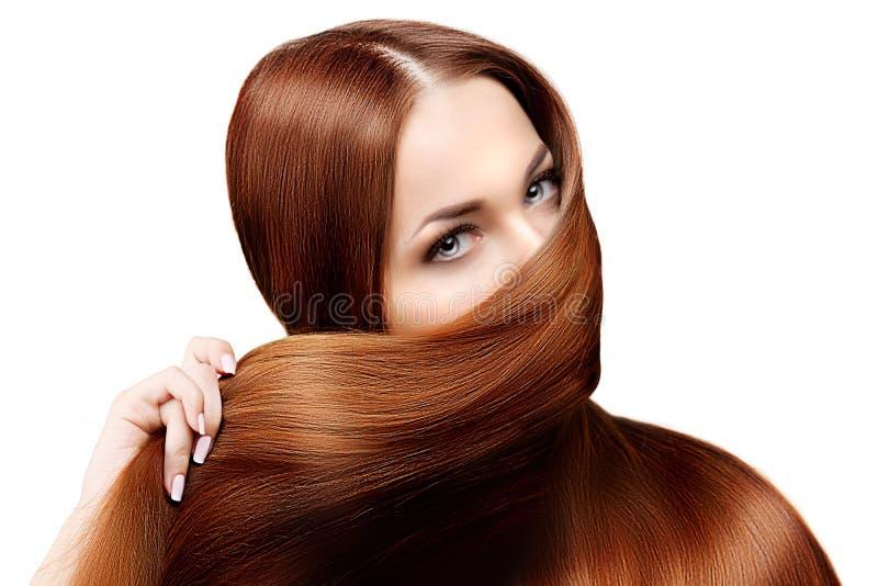długie włosy fryzury Włosiany salon Moda model z błyszczącym włosy zdjęcie stock