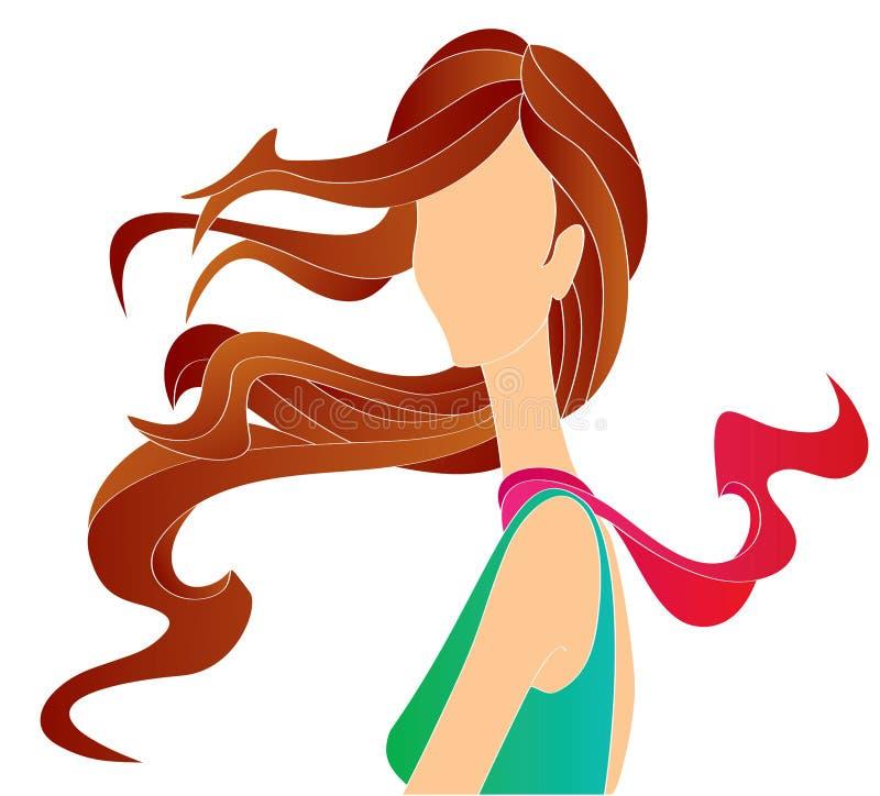 długie włosy g - girl ilustracja wektor