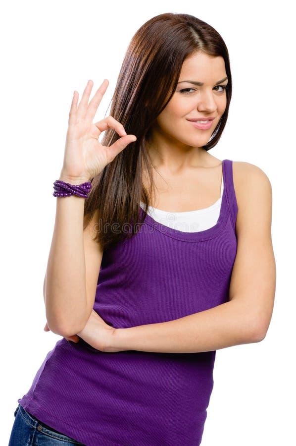 Długość portret kobieta z zadowalającym gestem obrazy stock
