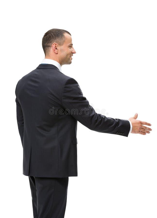 Długość profil biznesmena handshaking zdjęcia royalty free