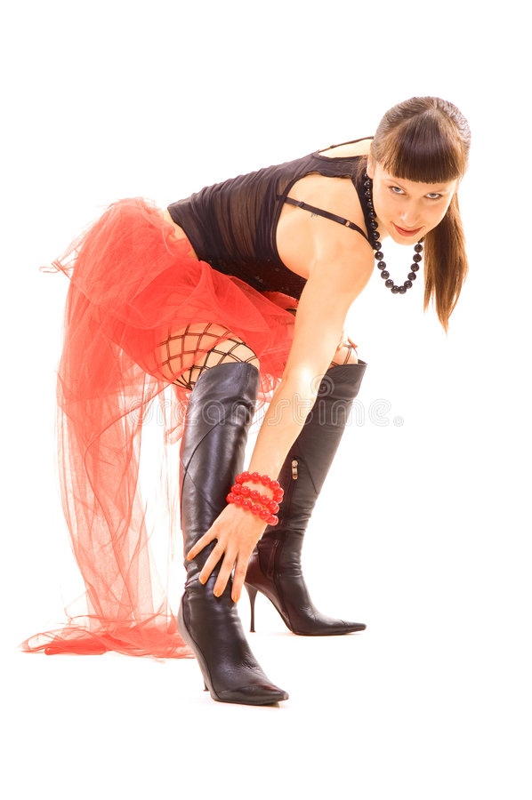 długo uderzanie jej nogi kobiety zdjęcia stock