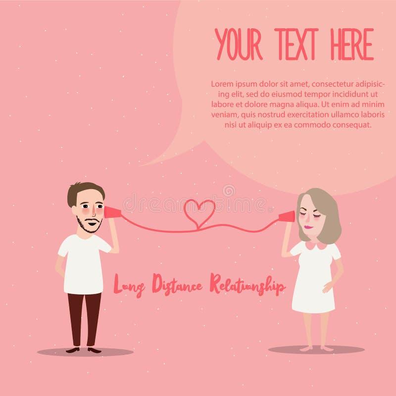 Długodystansowy związku LDR dzwoni pary w miłość romansie royalty ilustracja