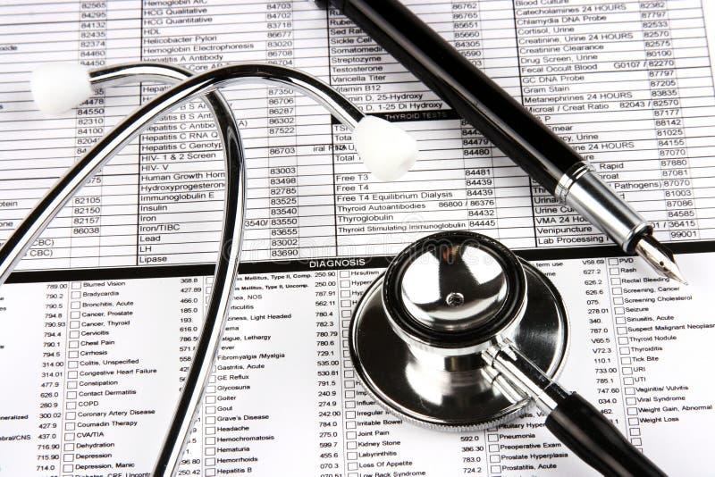 długopisy fontann stetoskop fotografia stock