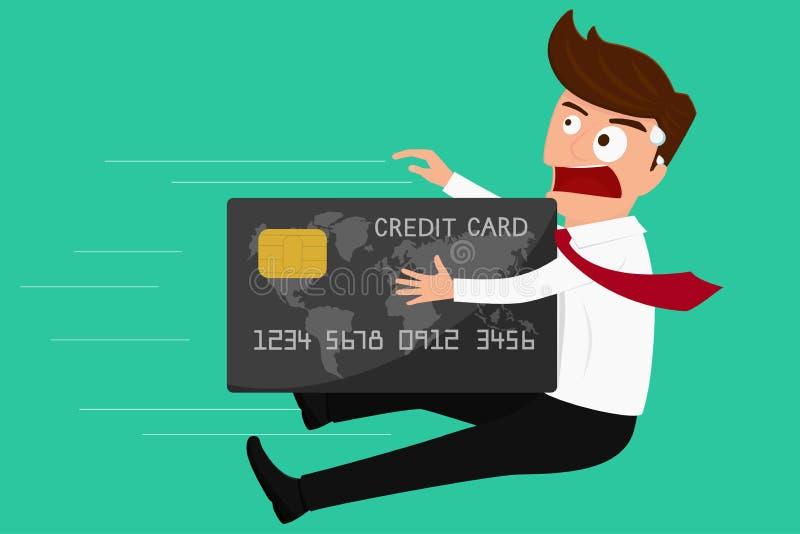 Długu pojęcie Kredytowej karty ataka biznesmen ilustracji