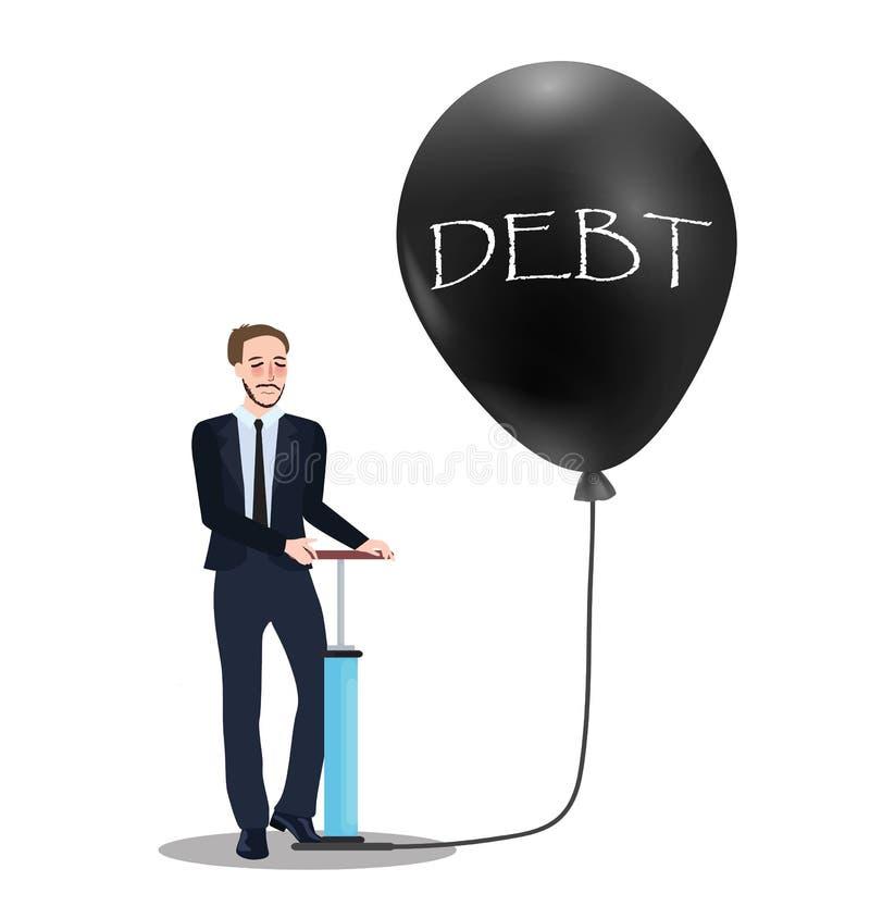Długu problemowy pojęcie pompować baloon problemu gospodarki bąbla inflaci pieniężnego zawalenie się ilustracja wektor