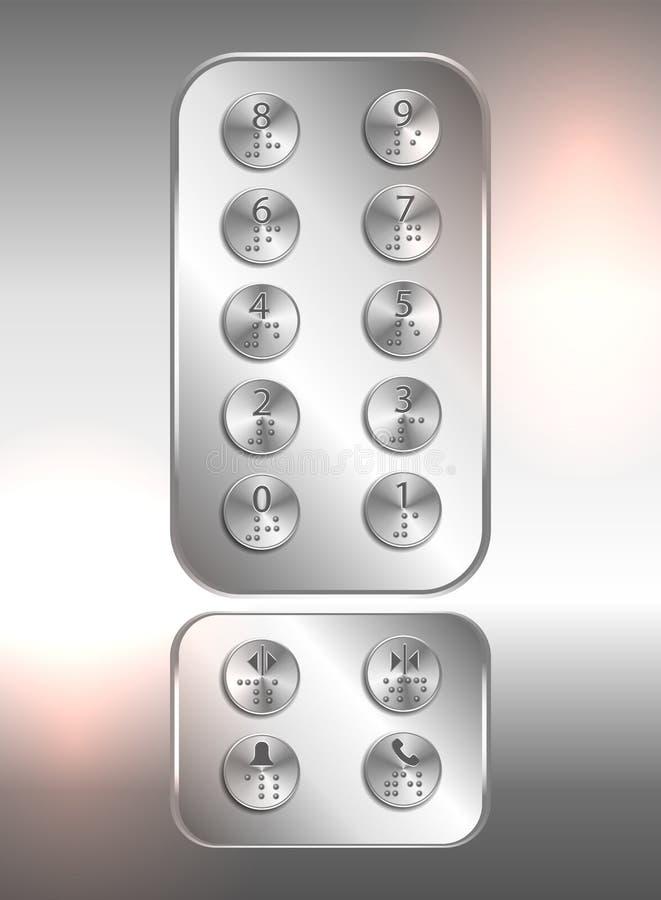 Dźwignięcia /elevator pchnięcia guziki z liczbami i Braille kodem dla niewidomych ludzi - wektor ilustracji