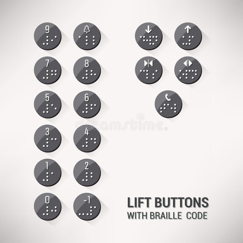 Dźwignięcie guziki z Braille kodem ilustracja wektor