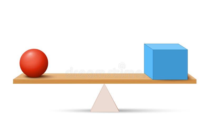 Dźwignia z pudełkiem i piłką ilustracja wektor