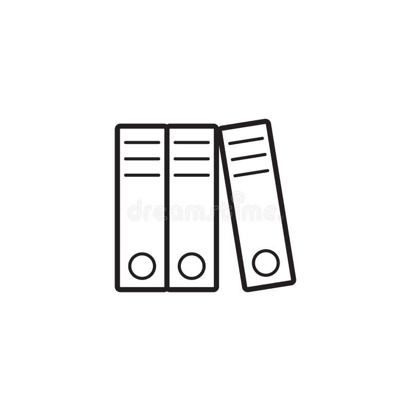 Dźwigniowi Łękowaci segregatory cienieją kreskową ikonę, papierowe falcówki royalty ilustracja