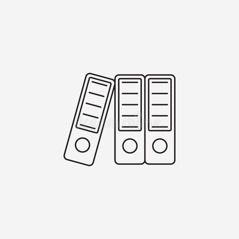 Dźwigniowi Łękowaci segregatory cienieją kreskową ikonę, papierowy falcówka konturu wektor ilustracji