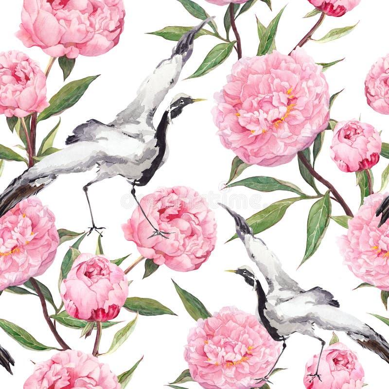 Dźwigowi ptaki tanowie, peonia kwiaty Kwiecisty wielostrzałowy azjata wzór akwarela ilustracji