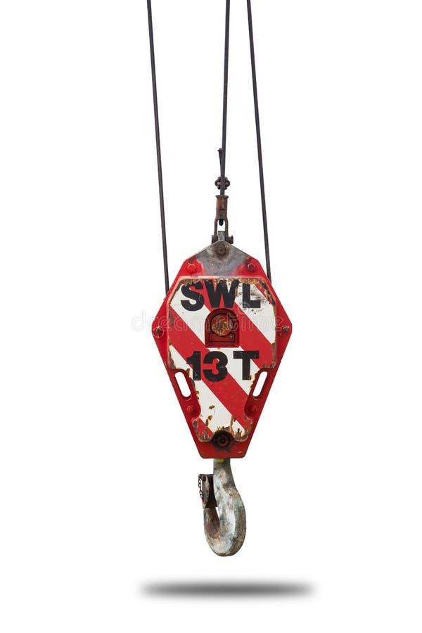 Dźwigowy dźwignik i haczyk z drucianej arkany temblakiem odizolowywamy na białym tle zdjęcia stock