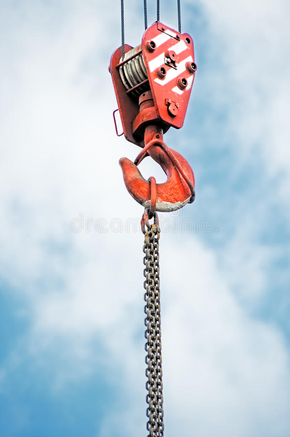 Dźwigowy haczyk zdjęcie stock