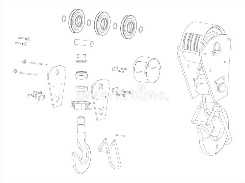 Dźwigowy haczyk ilustracji