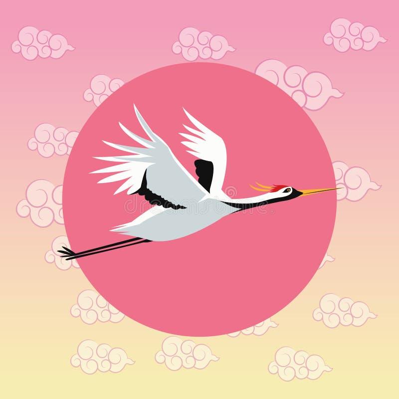 Dźwigowy ptasi Japan kultury projekt ilustracja wektor